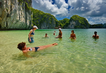 Pick Up From Hanoi To Halong Bay For The 2 Days 1 Night Program On Cruise Day Tuan Chau Beach B